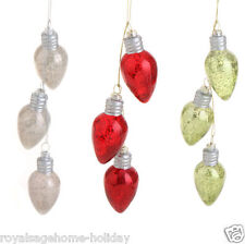 "3302492 RAZ 12"" Antiqued Light Bulb Cluster Glass Christmas Ornament Decoration"