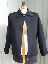 Carole Little Light Black Blazer/Coat lined with DETACHABLE fur collar Sz Sm/Med
