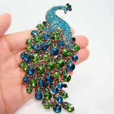 Peacock Bird Blue Green Rhinestone Crystal Bird Gold Plated Vintage Brooch Pin