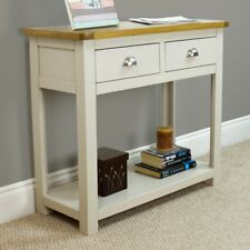 Wellington Painted Oak Console Table / Grey 2 Drawer Hall Table Solid Oak Top