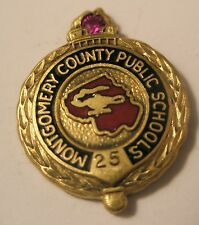 Montgomery County Public Schools Vintage 25 Year Pin 1/10 10K GF Gold Filled