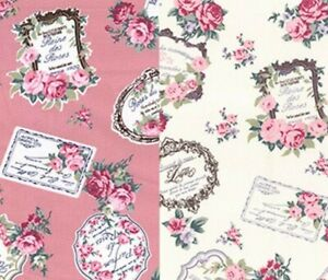 Vintage Scrapbook Cotton Fabric Upholstery Shabby Chic Fabric Quilting Pink
