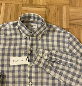 NWT Ledbury Mens Blue/White Plaid Linen/Cotton Dress Shirt Tailored Fit Sz 16