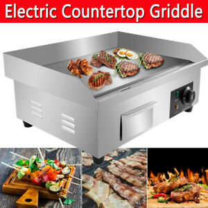 Commercial Electric Countertop Griddle Flat Top BBQ Grill Hot Plate Kitchen UK