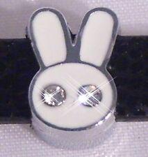 ♥ Hase Bunny weiß Strass Slider für Armband Slide Charm Schiebe Modul ♥ MLAB014
