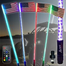 (PAIR) LED Lighted whip 5ft Remote Controlled with American Flag Quick Connect
