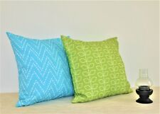 "2 x WATERPROOF OUTDOOR Throw Pillow covers 18"" Green Leaves, Aqua Chevron"