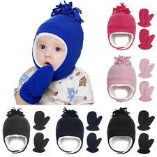 Baby Fleece Winter Warm Ear Protection Caps Outdoor Children Hat & Mitten Set