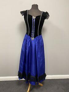 Ladies Black Blue Princess Dress 12 - Ex Hire Fancy Dress, Theatre Costume Panto