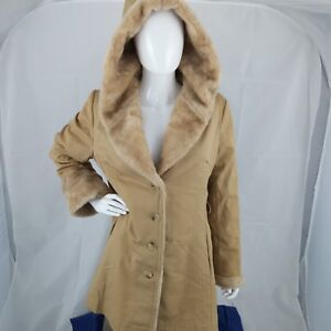 VTG Fake Russian Winter COAT Hooded Canvas Faux Fur JACKET Union Made Medium