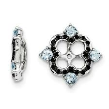 Platinum Sterling Silver Black Sapphire Aquamarine Halo Earring Jackets For Stud