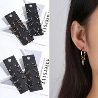 Women Round Hoop Earrings Set Pendant Earring Minimalist Jewelry Gift Ear Clip--
