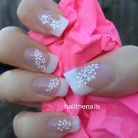 3D Nail Art Stickers Decals Transfers White Lace Flower 3 Sheets Y84 UK Seller