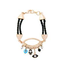 Bracelet Golden Charmes Black Cord Eyes Enamel Blue Pearl Grey CT10