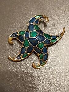 Vintage Jewellery Stunning Signed Boucher Blue/Green Enamel Starfish Brooch Pin