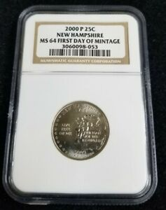 2000-P-New Hampshire State Quarter-NGC MS 64- First Day of Mintage