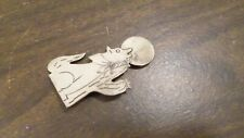 Vintage Sterling Silver Brooch Pin, Wolf Howling at Moon by Cactus