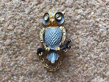 OWL ON BRANCH BROOCH