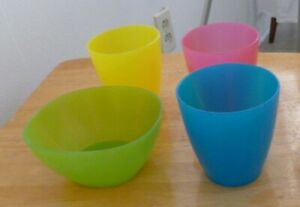 IKEA Kalas 3 Plastic Kids Cups 6 oz Pink, Blue, Yellow with 1 Green Bowl