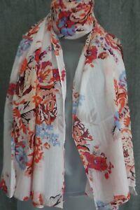 Camaieu Schal Tuch weiß bunt Blumen Baumwolle