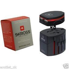 Skross Swiss World Travel Adapter 2 Converter Plug  & USB Charger  NEW