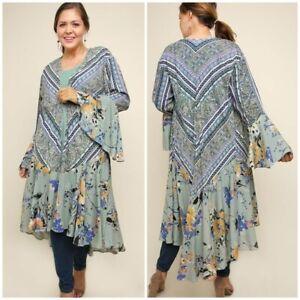Boho Floral Patchwork Kimono Sz XL (11/12) PLUS Womans NWT WG1837SG