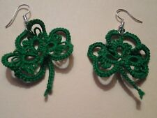 Tatted Kelly Green Shamrock Clover Earrings Designed by Dove Country Tatting