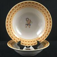 Set 2 VTG Soup Cereal Bowls Fitz & Floyd Cherub Angel Habitat Americana Omnibus