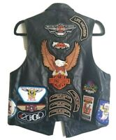 GENUINE HARLEY DAVIDSON Leather Vest 43 Pin's & 24 Patches Women's Size L