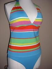 Ralph Lauren Women's Striped Multi Color Swimsuit 2 Pc Tankini Set Sz 12