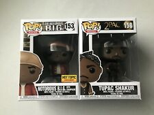 Funko Pop! Notorious B.I.G Champagne Hot Topic Exclusive #153 & Tupac #158 New