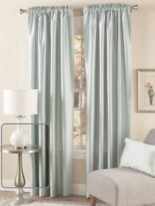 NIP COUNTRY CURTAINS Faux Silk Lined Rod Pocket Curtains W/Back Tabs-IvoryRet$89