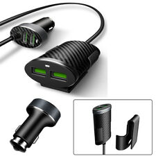 Car 4 Ports 5.1A USB Phone Fast Charger Adapter 1.2M Cable Carbon Fiber Pattern