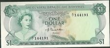 1974 Central bank of the bahamas one dollar currency note paper money 35a