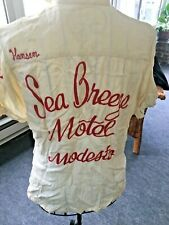 Sea Breeze Motel Modesto vintage fitted red chain stitch 50-60s bowling shirt S