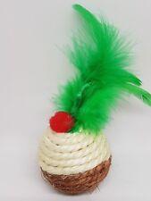 jouet chat pudding de Noël avec herbe à chat et plume