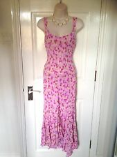 M&S Per Una Pink Green Floral Fishtail Summer Midi Maxi Dress Size 12 Long