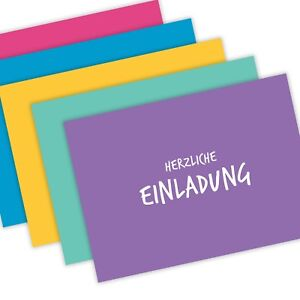 5 Stück - Einladungskarten (DIN A6) - Postkarte - Einladung - versch. Farben