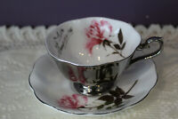 MAYFAIR BONE CHINA ENGLAND SILVER ANNIVERSARY TEA CUP AND SAUCER