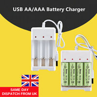 USB Plug Fast Battery Charger for AA AAA Rechargeable Batteries 4 or 3 Slots UK