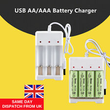 More details for usb plug fast battery charger for aa aaa rechargeable batteries 4 or 3 slots uk