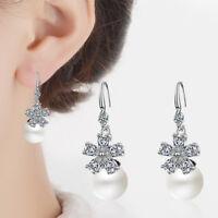 925 Sterling Silver AAA CZ Cubic Zircon Flower Pearl Dangle Hook Earrings