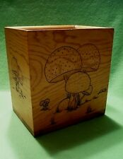 Vintage handcrafted wooden box w/relief carved images of MUSHROOMS.Artist signed