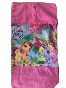 "Original 2005 MY LITTLE PONY Rainbow Gardens Sleepover Sleeping Bag 49"" x 27"""