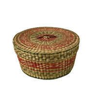 Vintage Natural Woven Round Lidded Sweet Grass Small Basket 5.25in x 1.75in