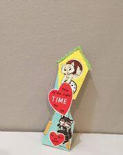 Vtg Valentine Card Cuckoo Clock Tuxedo Cat White Kitten Right Time For Us Unused