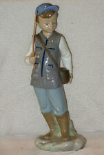 "RARE LLADRO NAO No 1389 BOY WITH FISHING ROD & BASKET 11"" TALL PERFECT CONDITION"