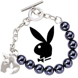 Playboy Bracelet Heart Bunny Charm Bead xoxo Love NWT y2k Deadstock NOS NIB HTF