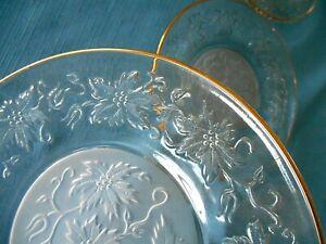 "4 PRINCESS HOUSE FANTASIA GLASS 8"" SALAD/LUNCHEON PLATES w/GOLD TRIM"