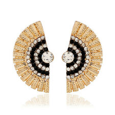 ED16 Fanning Textured Gold & Black Crystal Half Round Jacket Post Earrings
